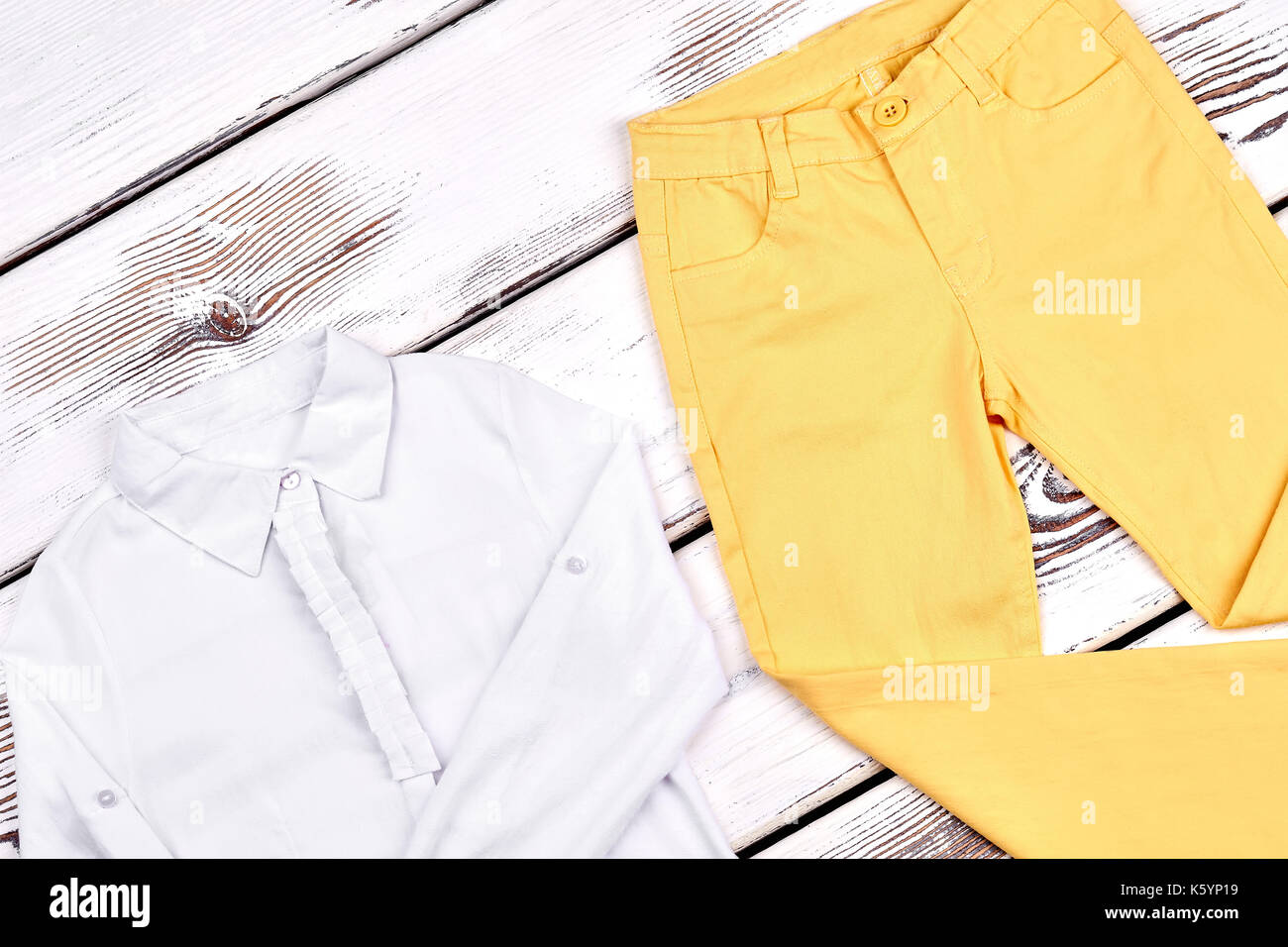 Girls High Quality Cotton Garment Teen Girl Beautiful Long Sleeve Blouse Yellow Skinny Pants On Wooden Background Childrens Clothes On Sale
