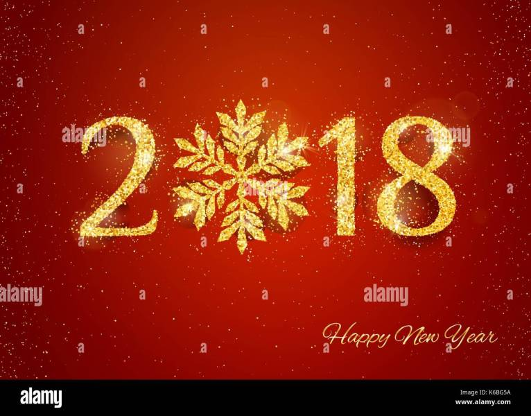2018 Happy New Year Background with golden glitter numbers on red     2018 Happy New Year Background with golden glitter numbers on red background   Vector holiday design for your flyer banner and greeting cards