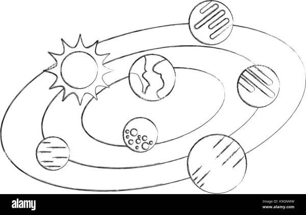Solar System Planets Orbit Black and White Stock Photos