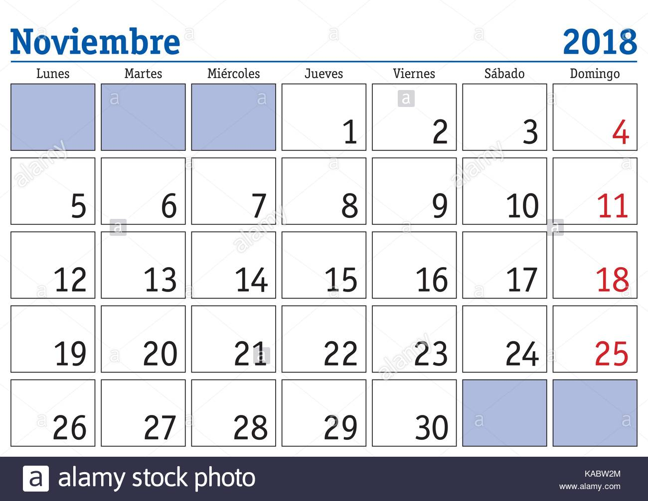 November Month In A Year Wall Calendar In Spanish