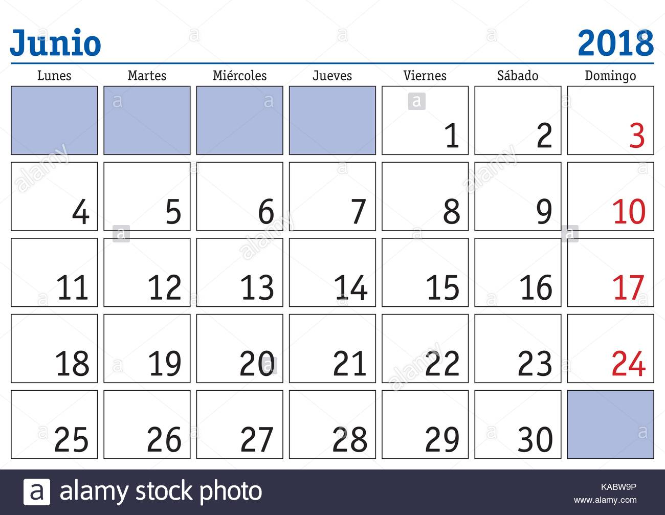 June Month In A Year Wall Calendar In Spanish Junio