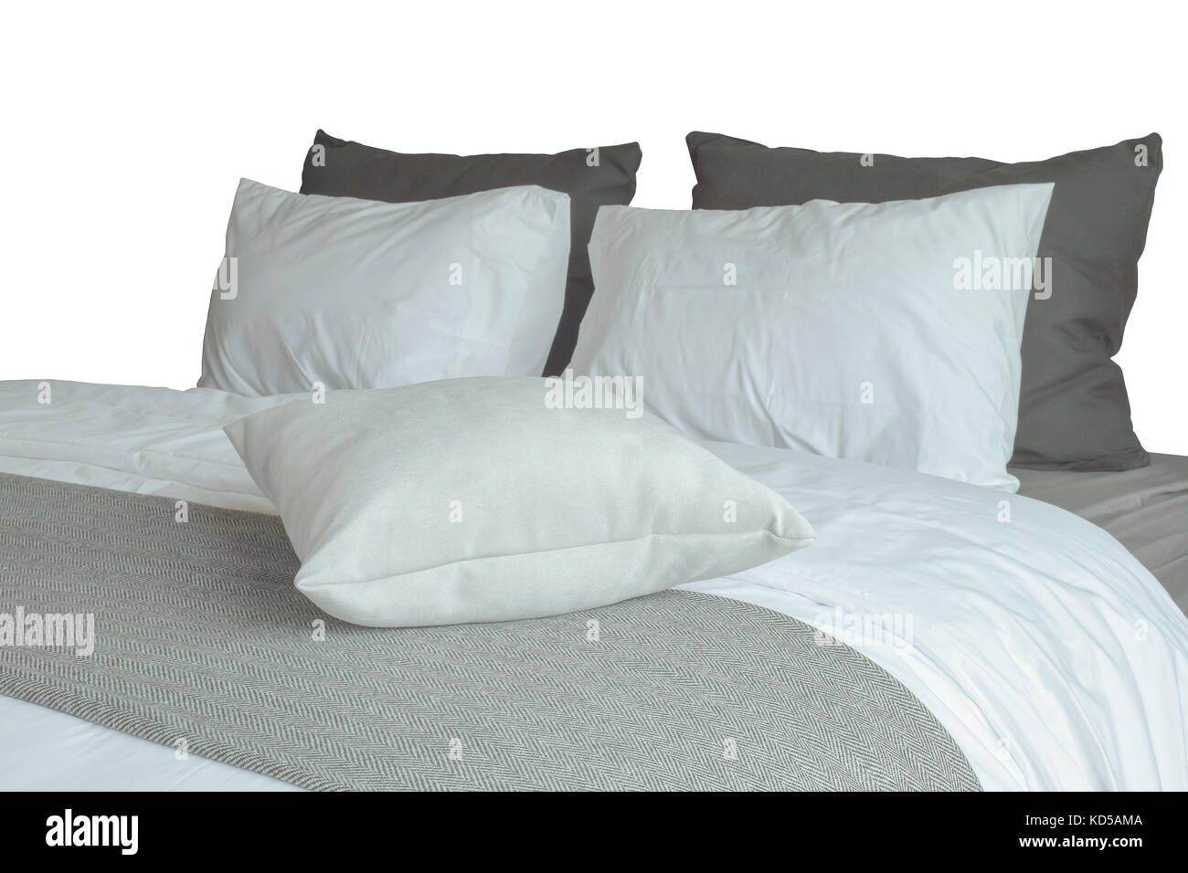 https www alamy com stock image soft white pillows and comfortable bed on white background with clipping 163002010 html