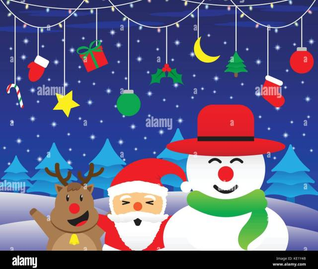 Merry Christmas Cute Reindeer Plump Santa Claus And Chubby Snowman Is Standing Happily Under Christmas Light And Hanging Stuffs On Snowy Night