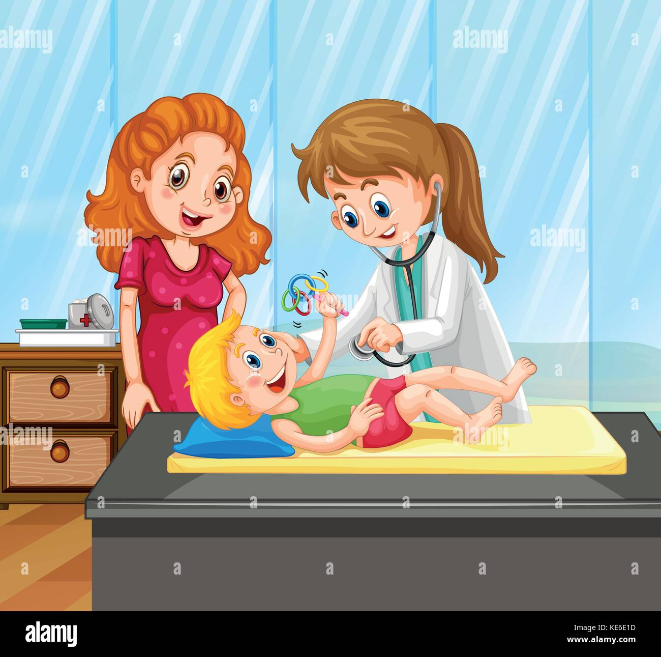 Child Drawing Doctor Stock Vector Images