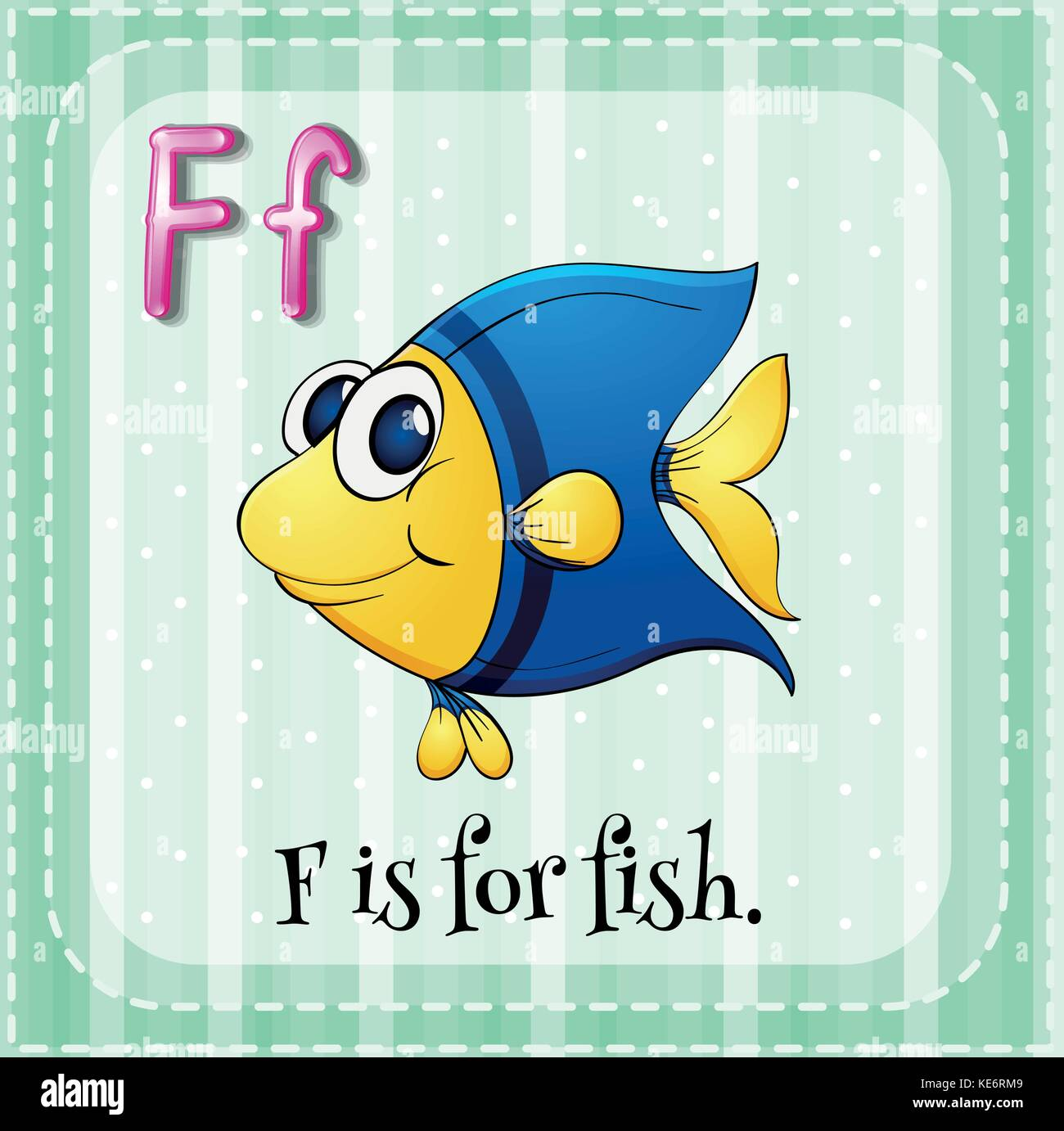 Flashcard Letter F Is For Fish Stock Vector Art Amp Illustration Vector Image