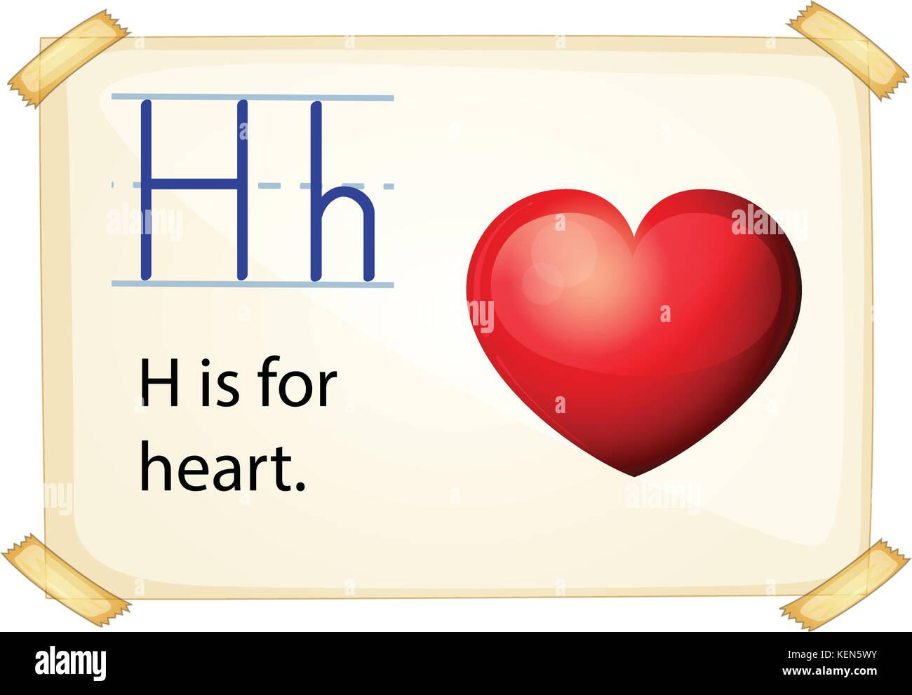 Illustration Of A Flashcard Letter H For Heart Stock