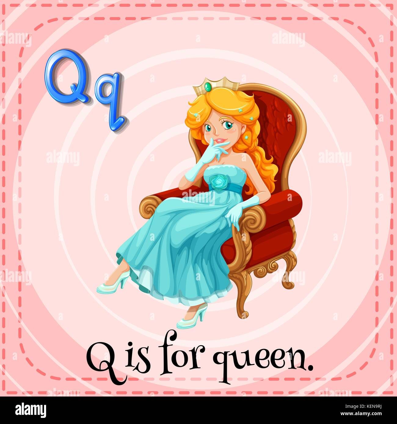 Illustration Of An Alphabet Q Is For Queen Stock Vector