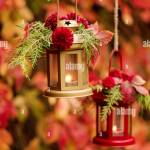 Fall Time Autumn Decoration Candlesticks In The Form Of Lanterns Stock Photo Alamy