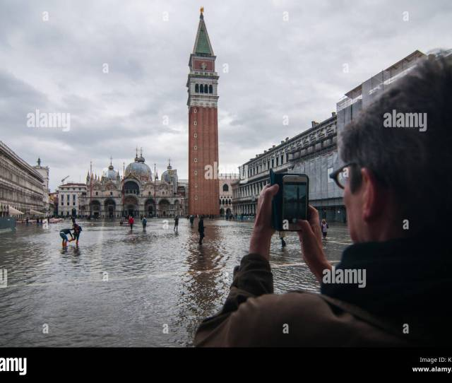 Venice Italy Th November  A Tourist Takes A Picture Of St