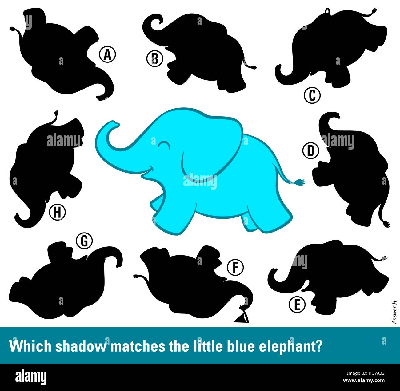Funny Shadow Matching Kids Puzzle With Cute Cartoon Baby