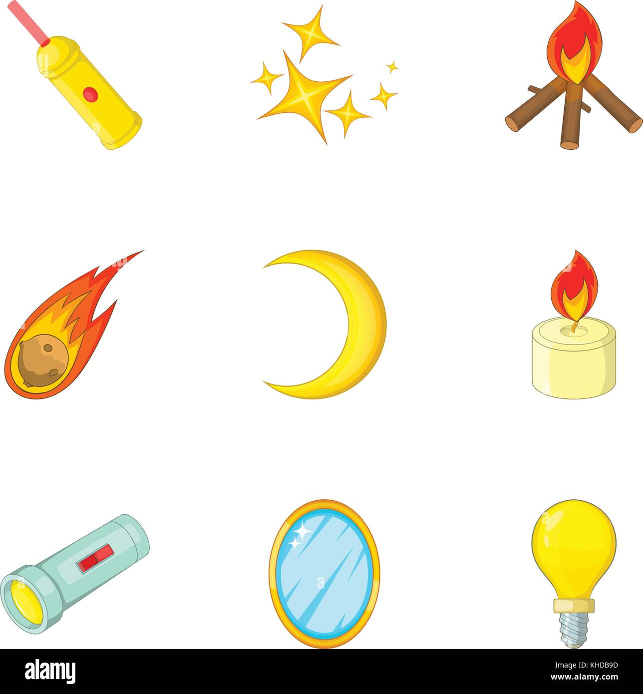 Sources Of Light Icons Set Cartoon Style Stock Vector Art