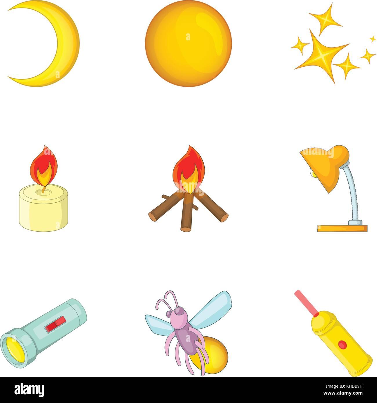 Light Source Icons Set Cartoon Style Stock Vector Image