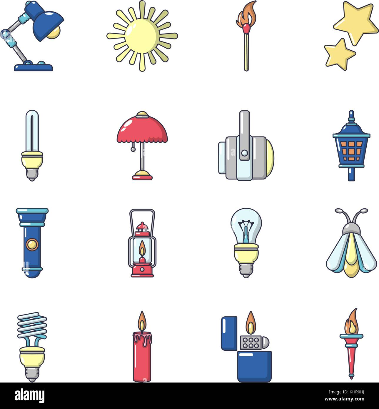 Cartoon Illustration Power Light Switch Stock Photos