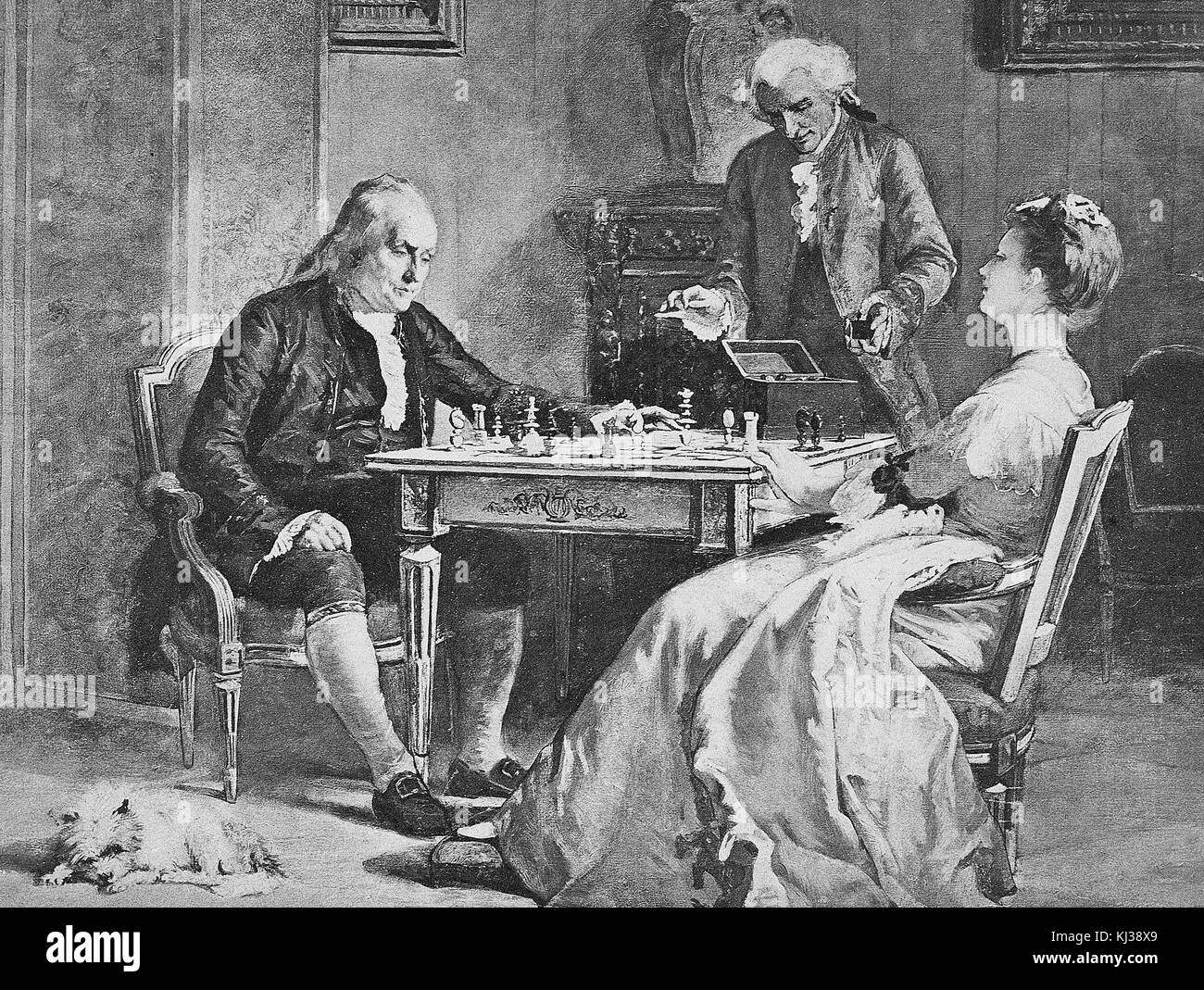A Painting Of Benjamin Franklin Playing Chess With Lady
