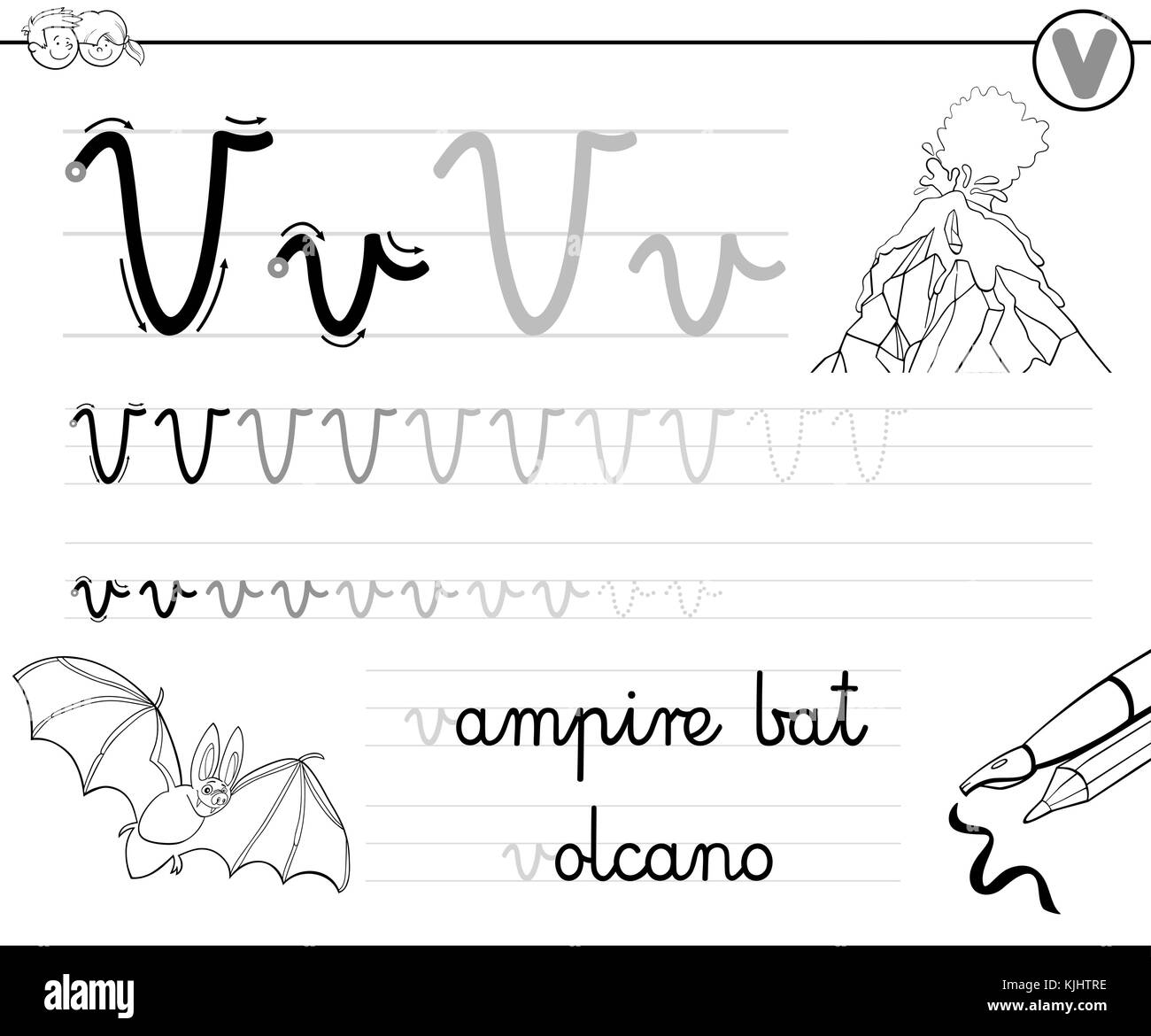 Cartoon Illustration Writing Skills Practice Stock Photos