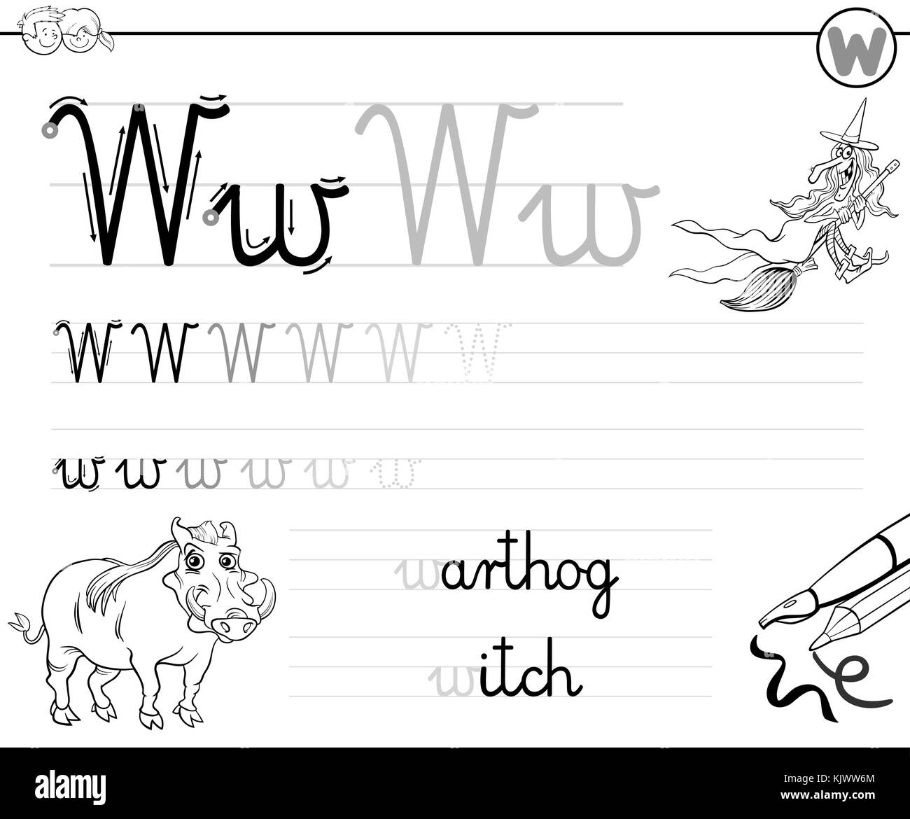 Animal Alphabet W Stock Vector Images