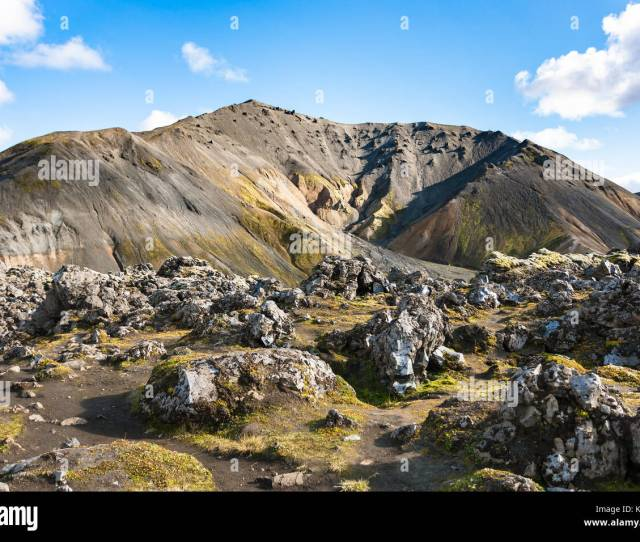 Travel To Iceland Volcano And At Laugahraun Volcanic Lava Field In Landmannalaugar Area Of Fjallabak Nature Reserve In Highlands Region Of Iceland I