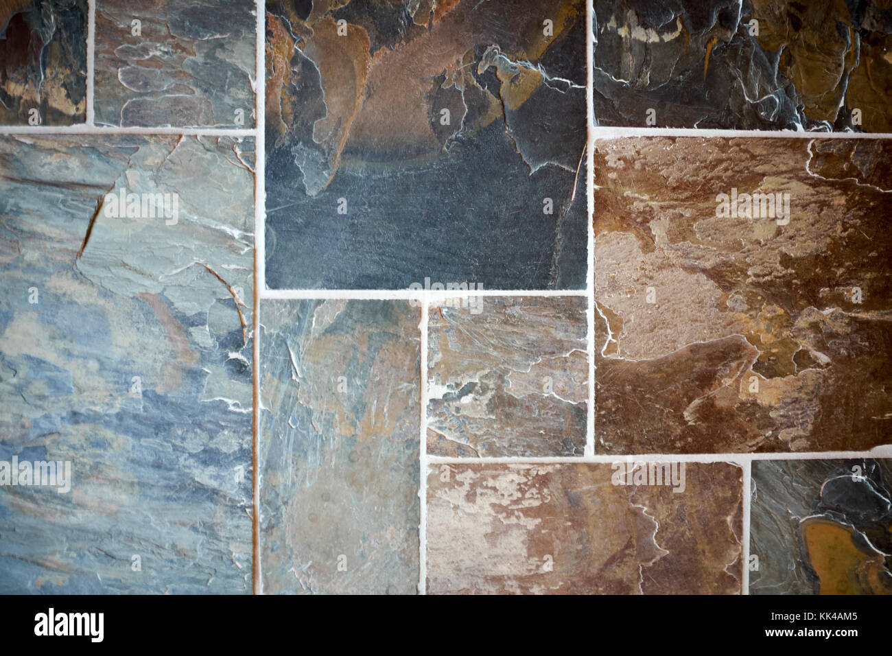 https www alamy com stock image decorative stonework with colorful slate tiles in blue and brown hues 166667989 html