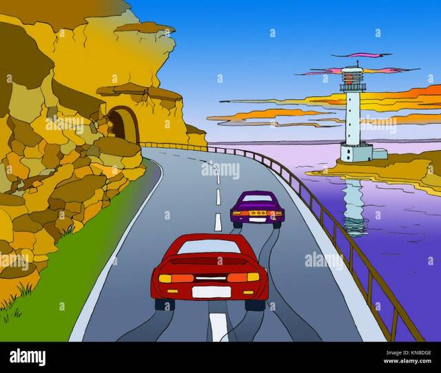Digital Painting Illustration Of The Two Cars Driving Through Mountain Tunnel Near The Sea With