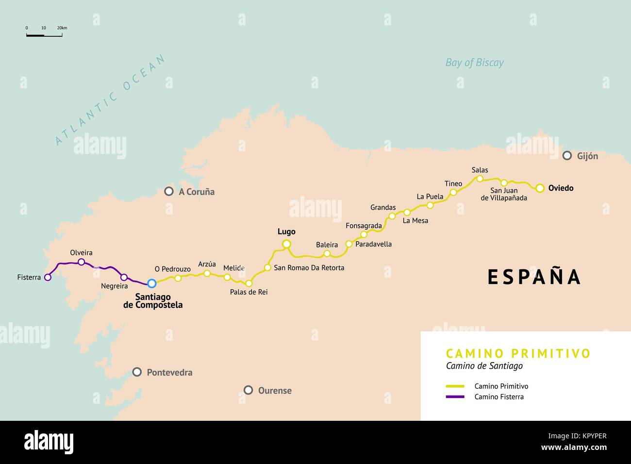 Camino Primitivo map  Original route from Oviedo  Camino De Santiago     Camino Primitivo map  Original route from Oviedo  Camino De Santiago or The  Way of St James  Ancient pilgrimage path to the Santiago de Compostella on
