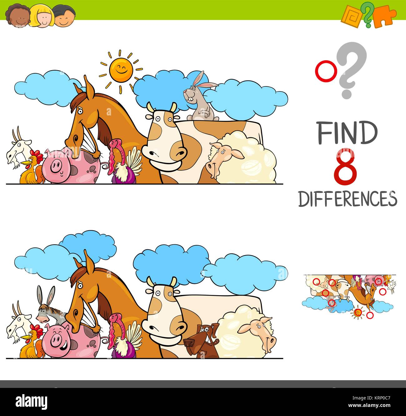 Cartoon Illustration Of Finding Eight Differences Between