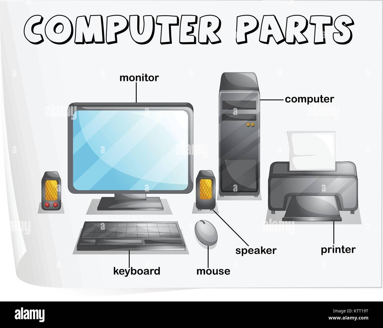 Illustration Of Computer Parts Worksheet Stock Vector Art Amp Illustration Vector Image