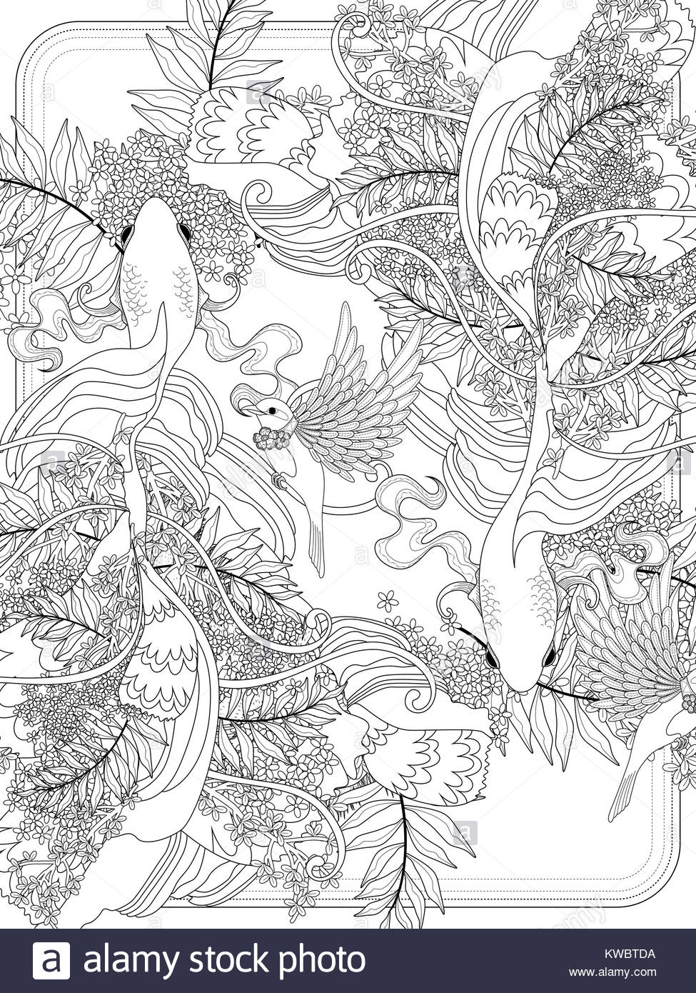 Graceful Goldfish Swim Underwater Adult Coloring Page Stock