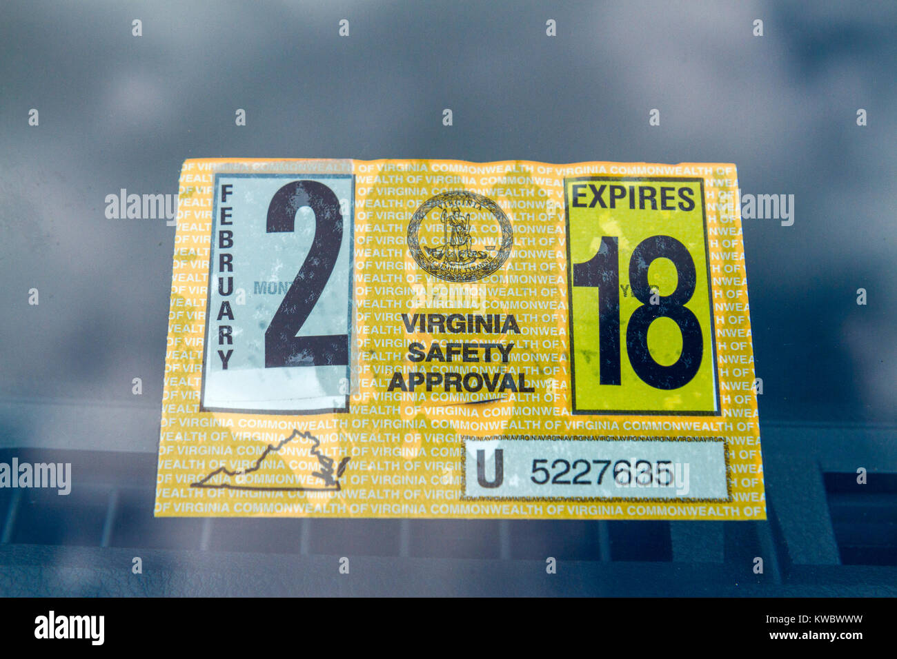 A Virginia Safety Approval Sticker From The Virginia Motor