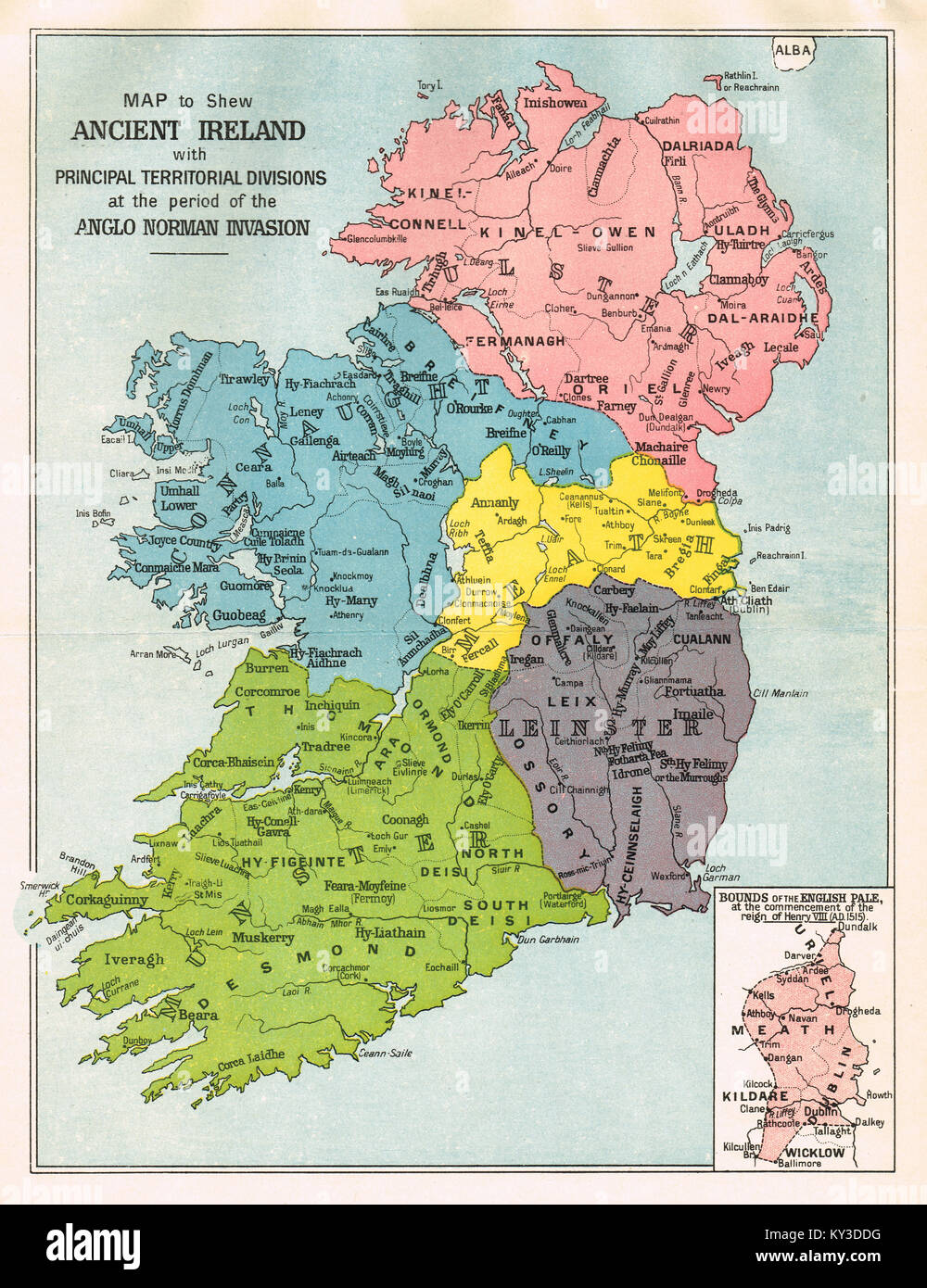 Map of Ireland  at the period of the Anglo Norman invasion Stock     Map of Ireland  at the period of the Anglo Norman invasion