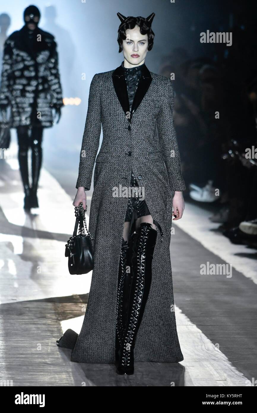 Milan  Italy  13th Jan  2018  Milan man s Fashion Week autumn winter     Milan man s Fashion Week autumn winter 2019  Milano Moda Uomo  fall winter  2019 Moschino Fashion Show Pictured  Model Credit  Independent Photo  Agency Alamy