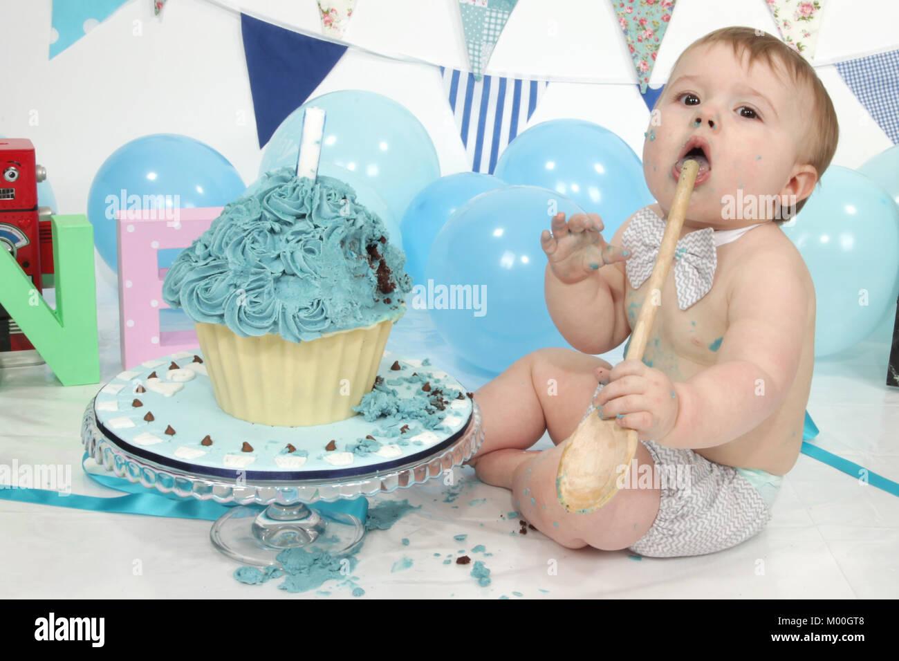 1 Year Old Boy Birthday Party Cake Smash Fun Food Stock