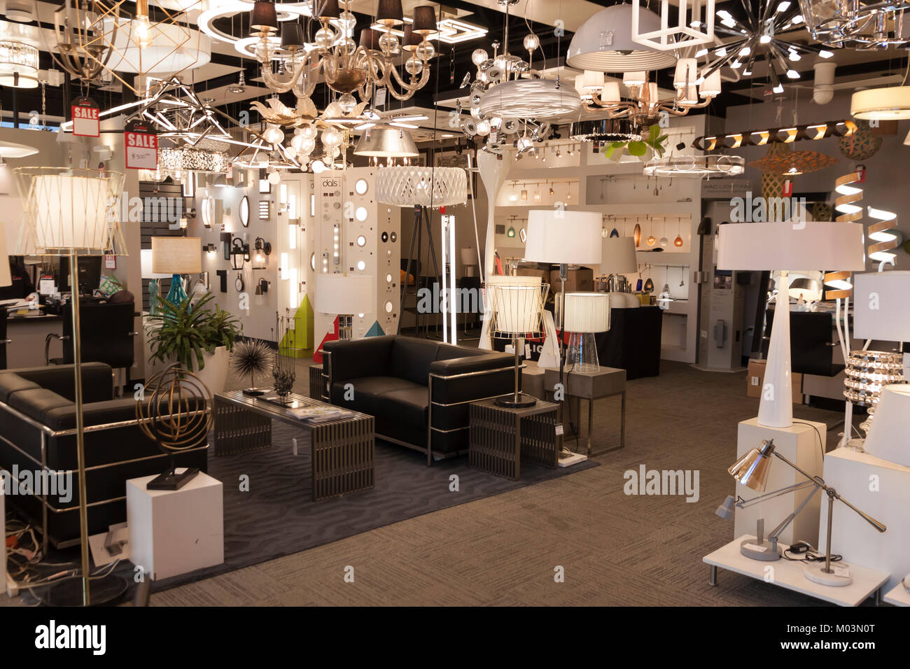 https www alamy com stock photo modern lighting and lamps on display in a retail store interior 172186024 html