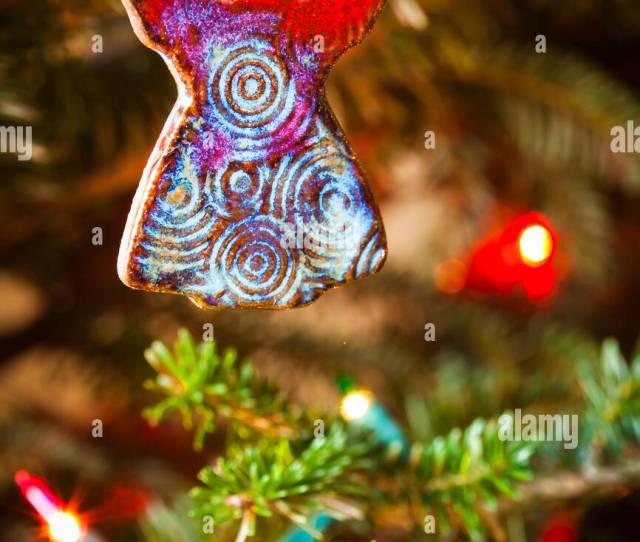 Ceramic Angel Handmade Christmas Ornament Hanging On A Christmas Tree Waco Texas United States Of America