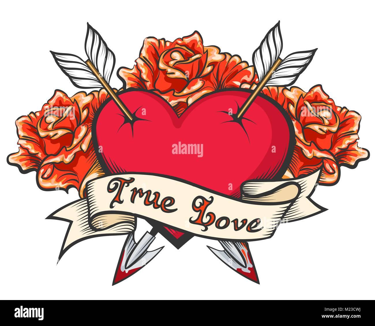 Heart With Arrow Tattoo Stock Photos Amp Heart With Arrow