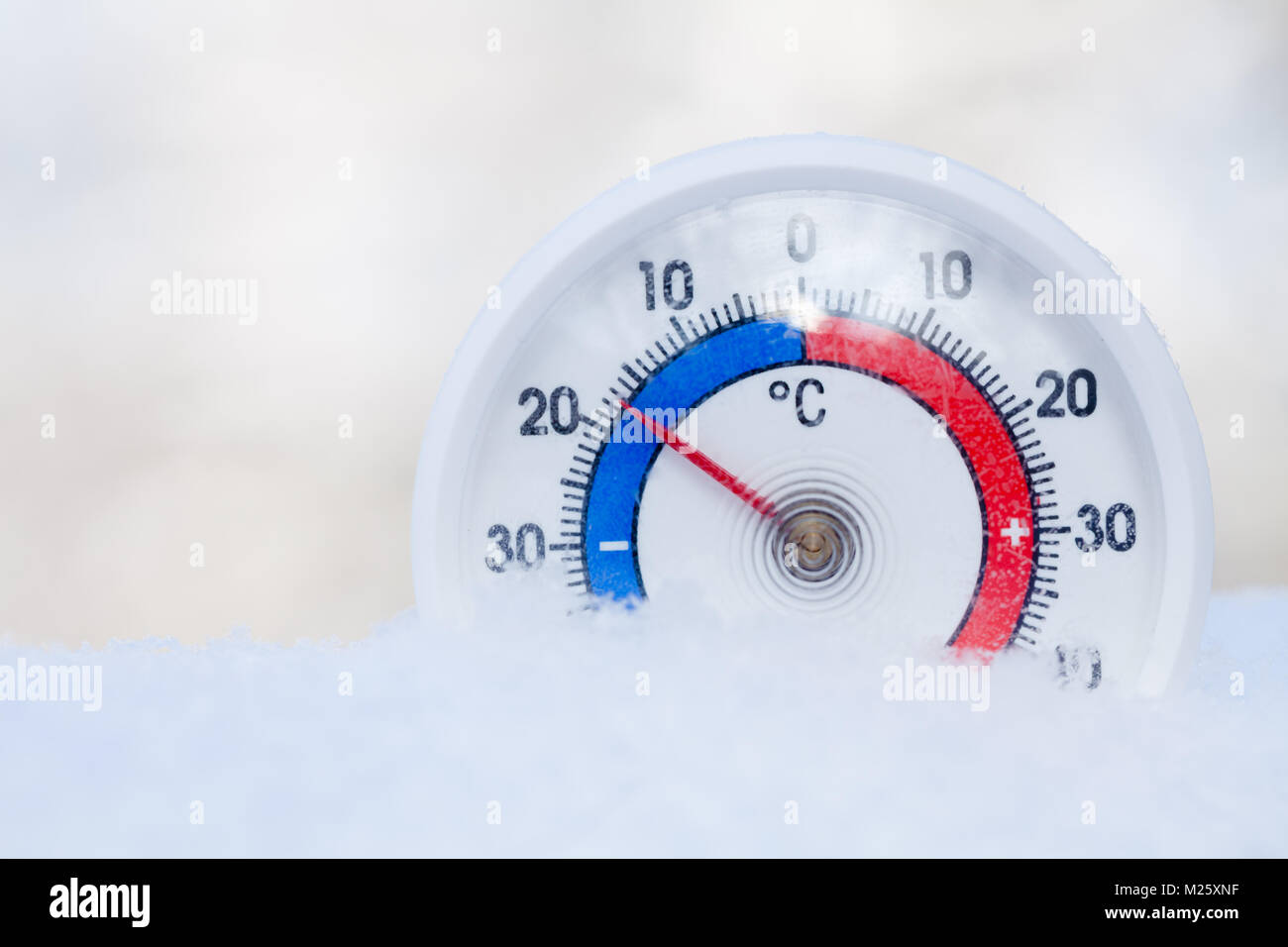 Thermometer With Celsius Scale Placed In A Fresh Snow
