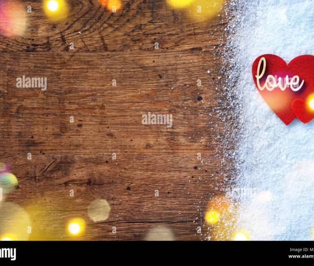 Felt Red Hearts And Wooden Inscription Love On Snow And Rustic Background Love