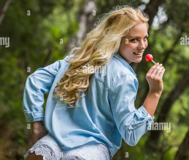 Pretty Teen Girl Wearing White Tight Hotpants Hot Pants Shorts Stock Image