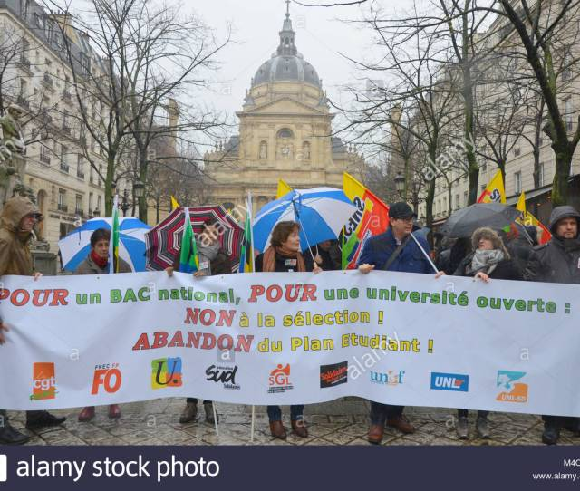 Paris France 15th Feb 2018 Protesters Hold A Banner As They Take Part In A Demonstration Against The French Governments Proposed Reform Of University