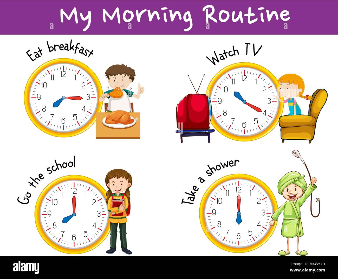 Morning Routines For Children With Clock And Activities