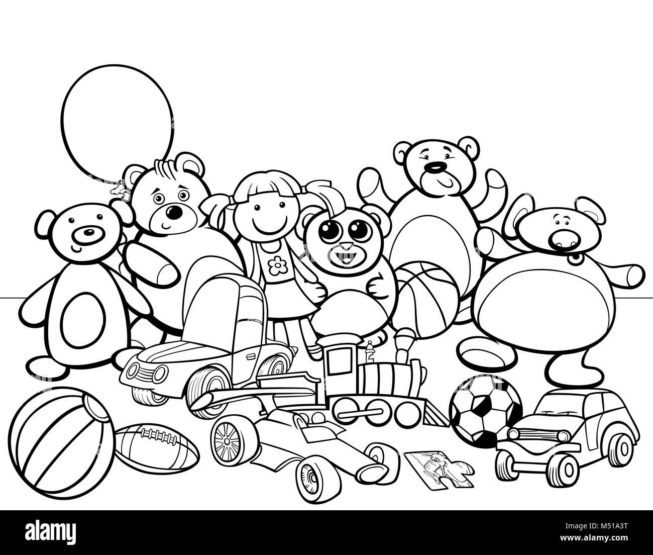 Toys Group Cartoon Coloring Book Stock Photo