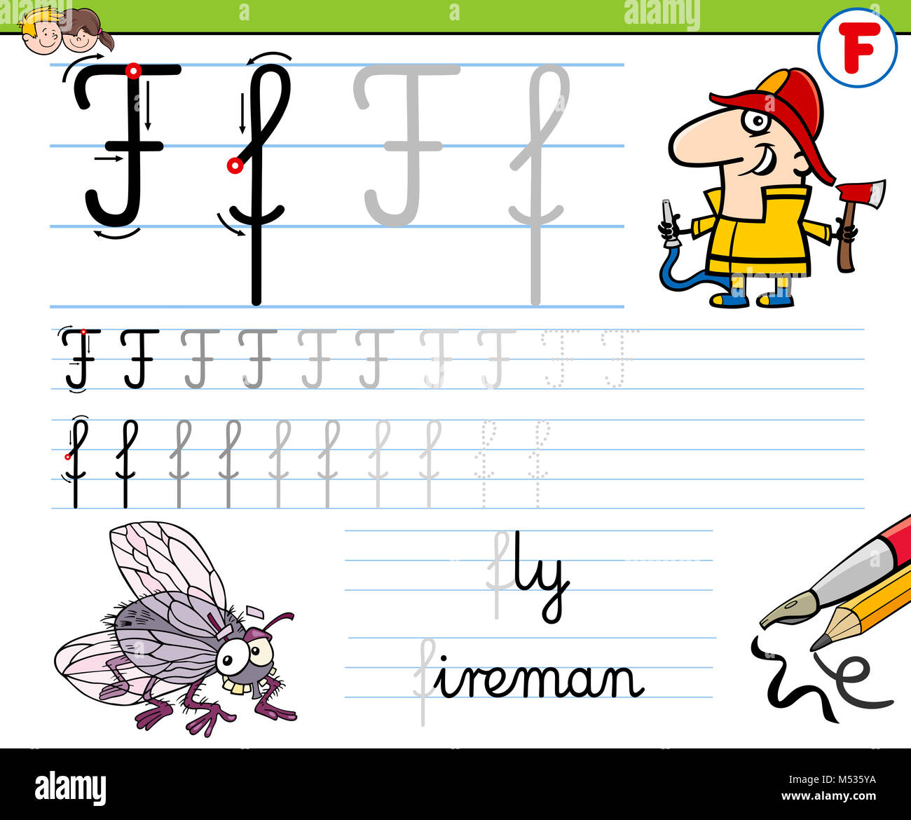 How To Write Letter F Worksheet For Kids Stock Photo