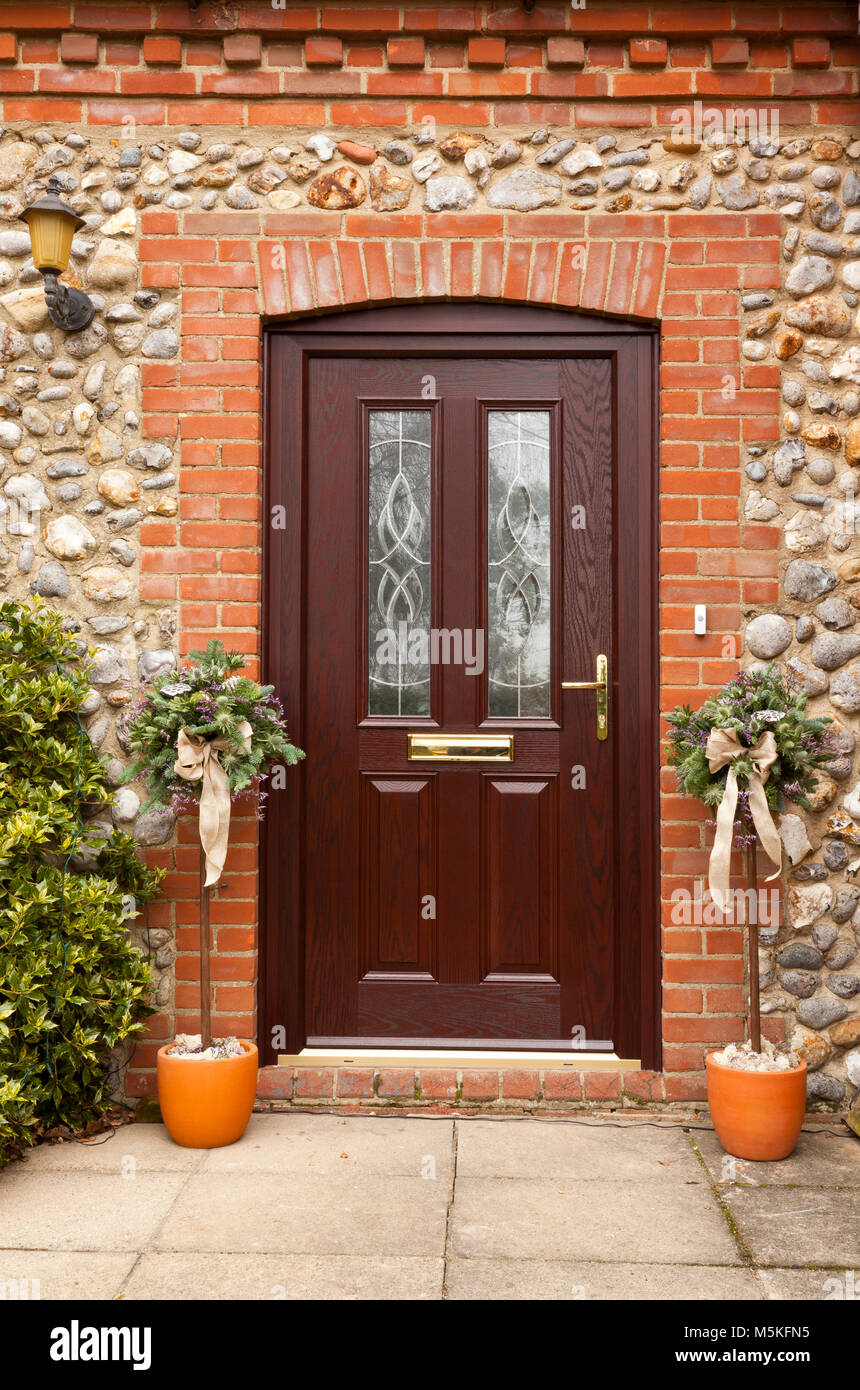 A Brown Modern Front Door Of A House Stock Photo Alamy