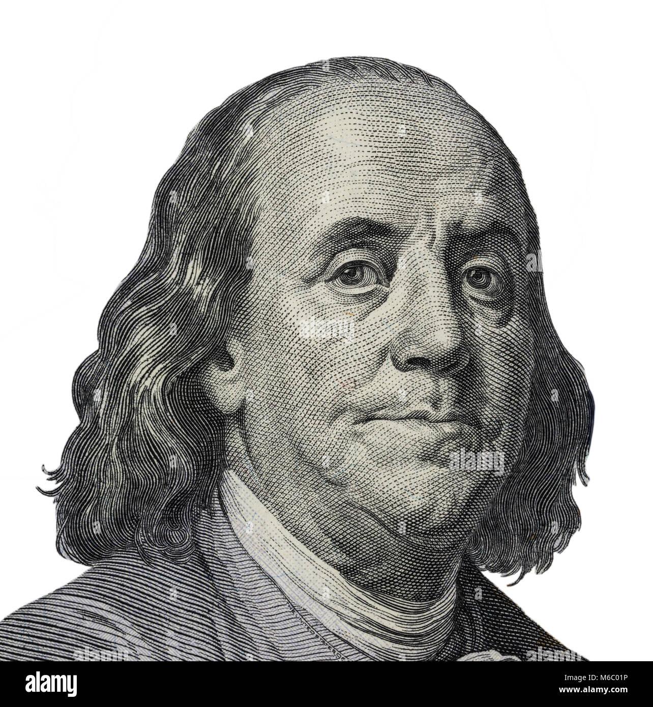 Benjamin Ben Franklin Face On Us 100 Dollar Bill Closeup