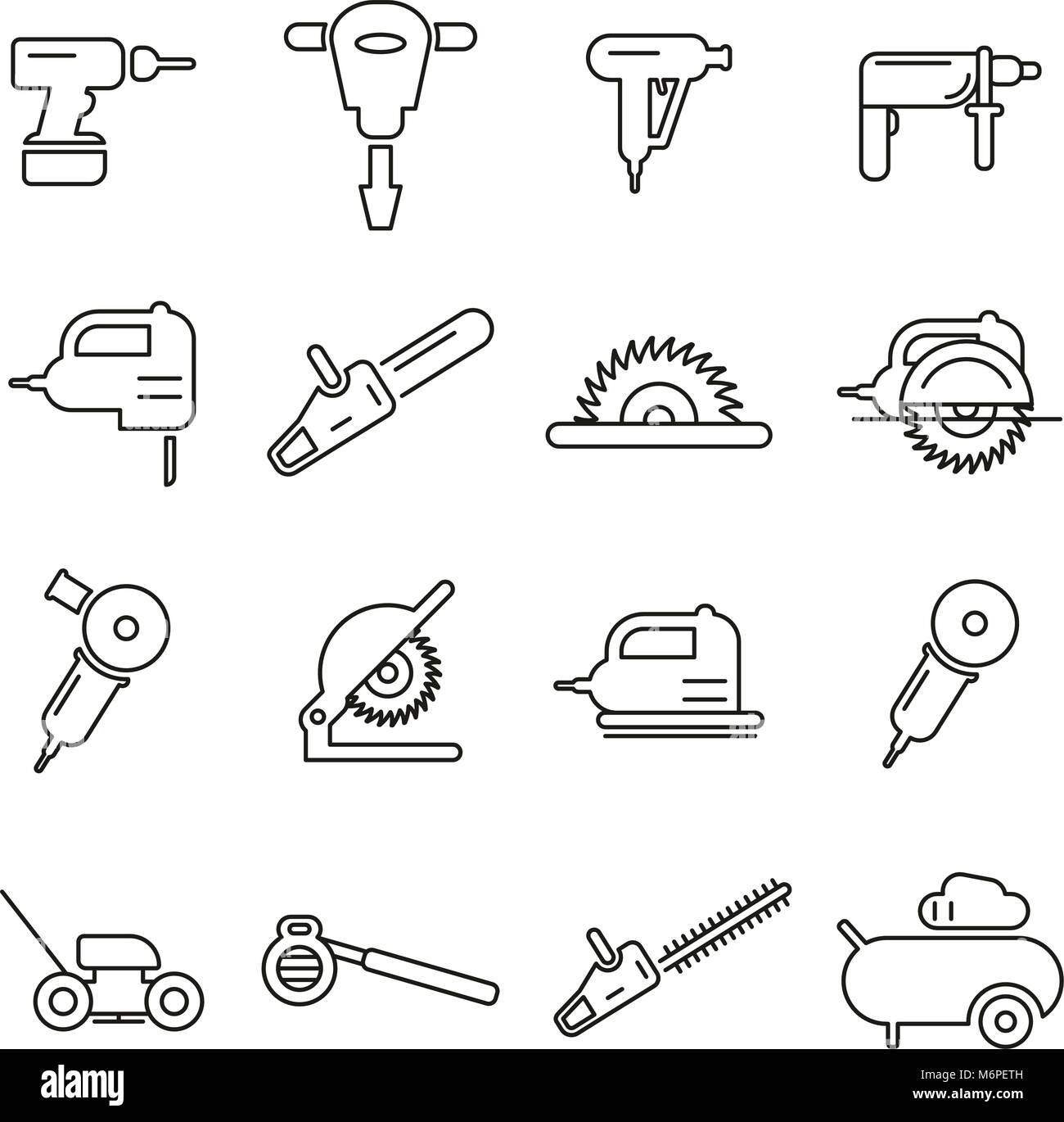 Power Tools Or Electric Tools Icons Thin Line Vector