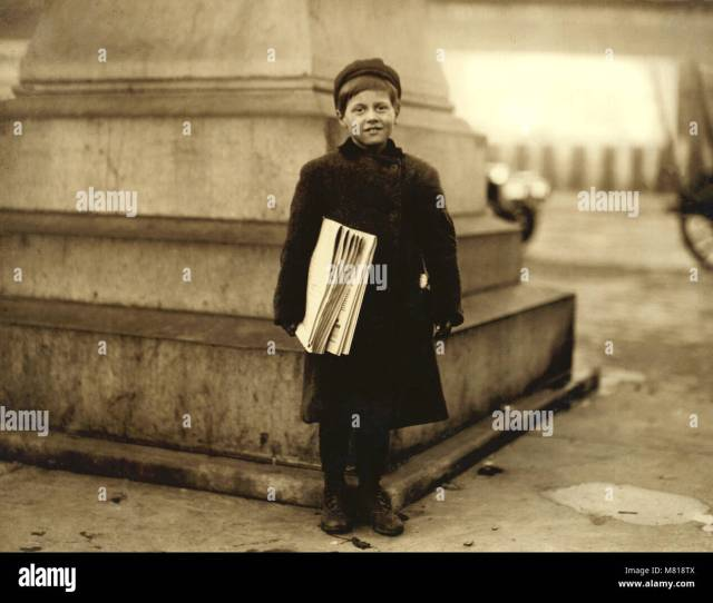 Thomas Messina 8 Years Old Newsboy Full Length Portrait Hoboken New Jersey Usa Lewis Hine For National Child Labor Committee December 1912