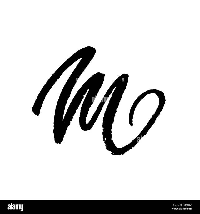 Letter M. Handwritten by dry brush. Rough strokes textured font