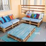 Cool Patio Furniture Made From Wooden Pallets Painted Blue With Stock Photo Alamy