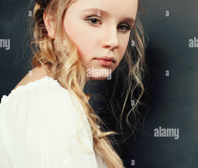 Fashion Portrait Of Young Blonde Teen Girl Fashion Model With Makeup And Hairstyle Stock Image