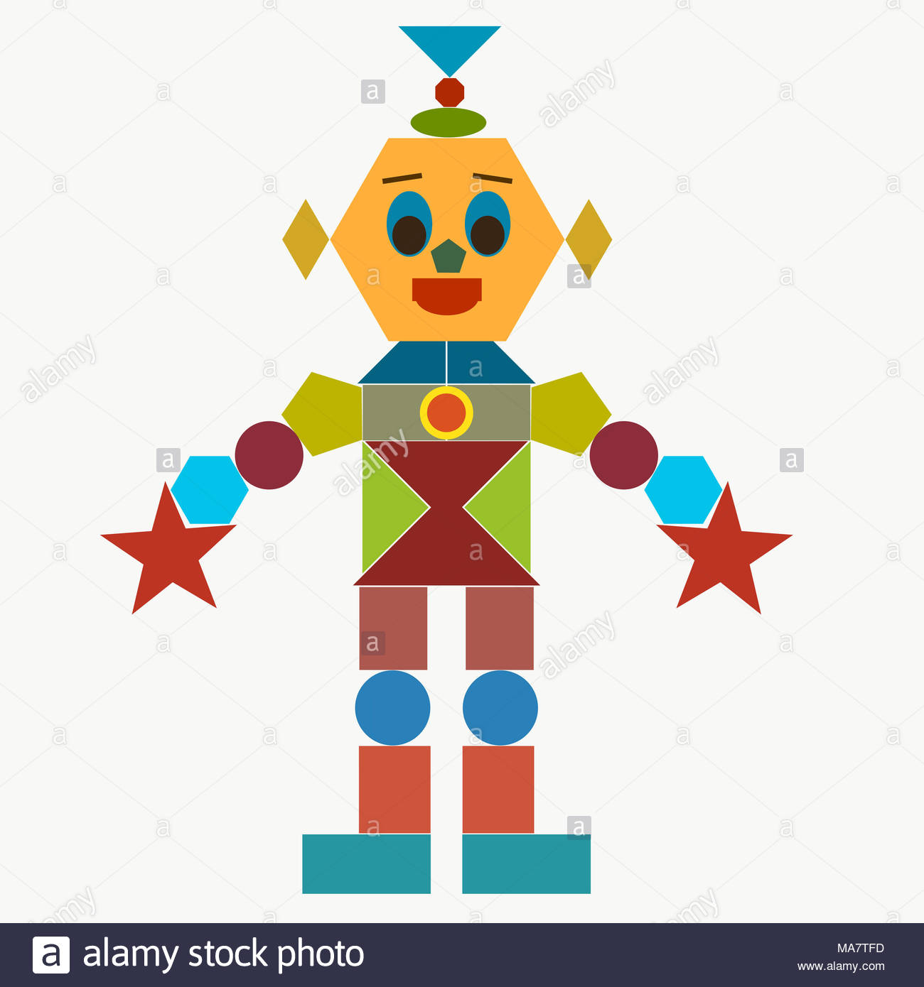 Funny Robot From Geometric Shapes Stock Photo