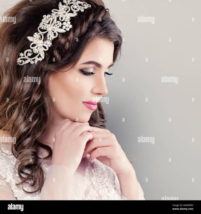 beautiful young bride. stylish woman fiancee with bridal